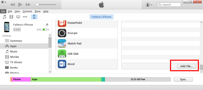 Add files with iTunes