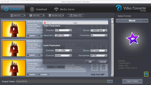 iMovie video settings