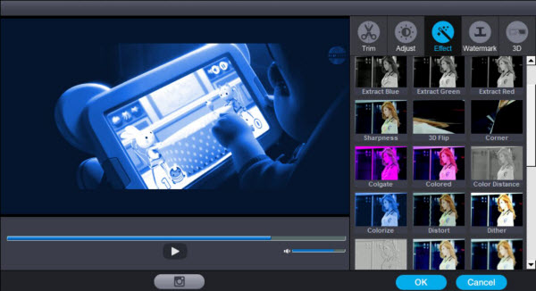 Adjust video effect