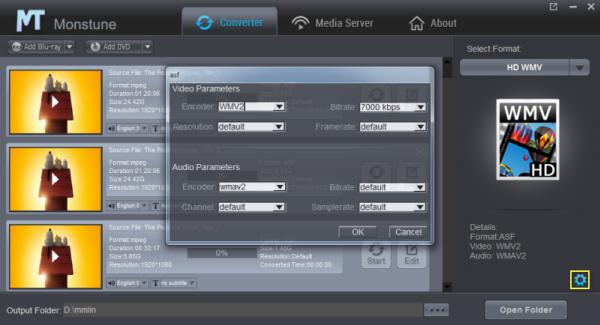 HD WMV video settings