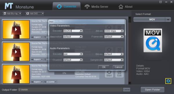 MOV settings