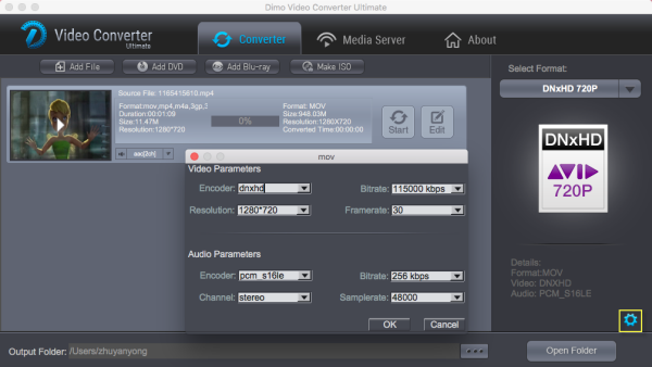 DNxHD video settings