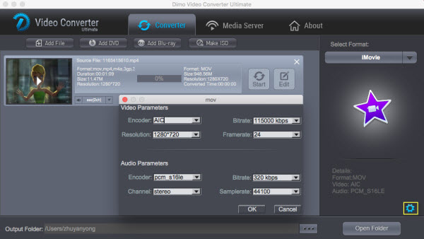 iMovie video settings