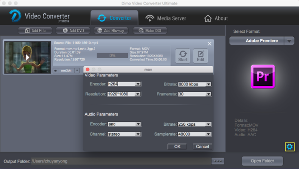 Premiere Pro video settings