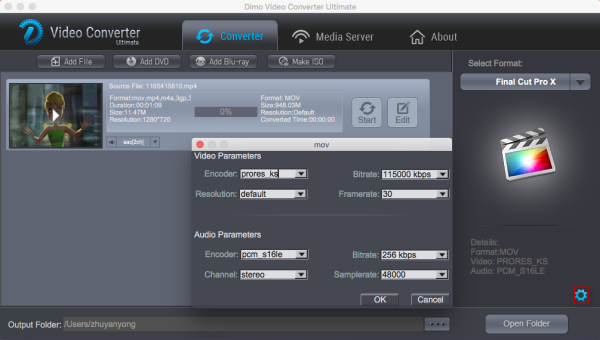 FCP video settings