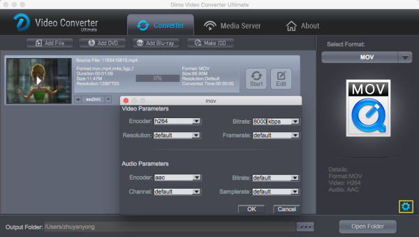 QT MOV format settings