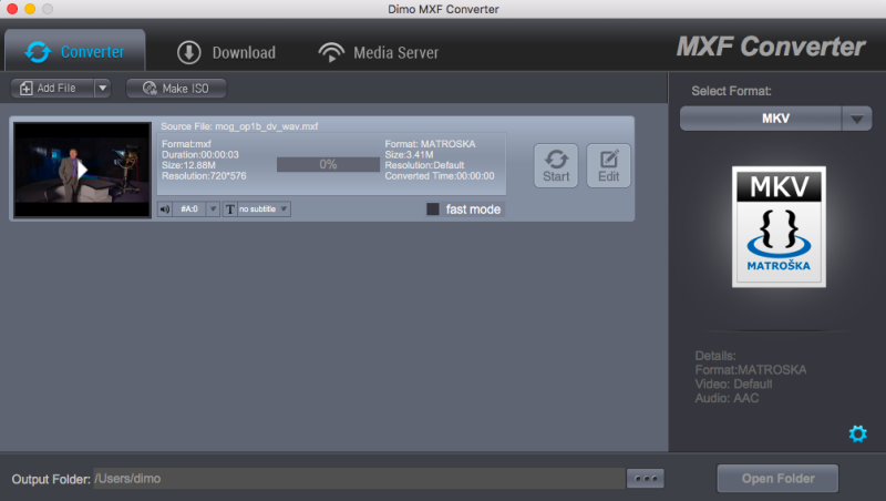 MXF Converter for Mac Screenshot
