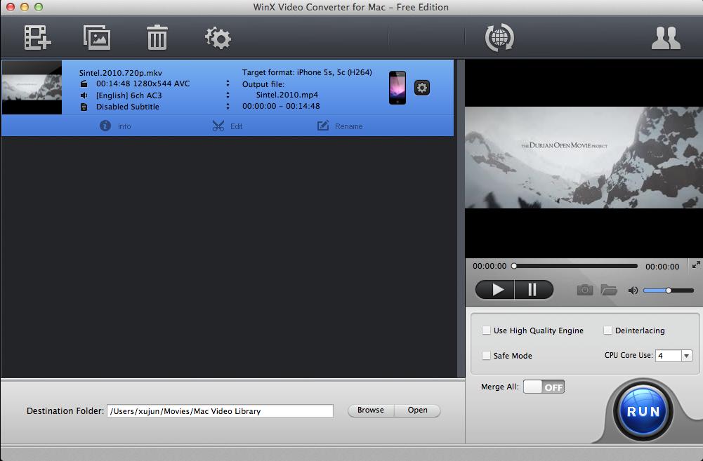WinX Video Converter for Mac