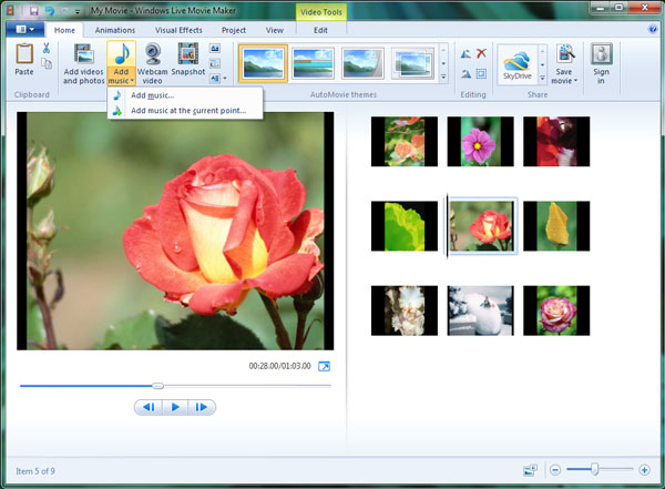 Add file to Windows Live Movie Maker