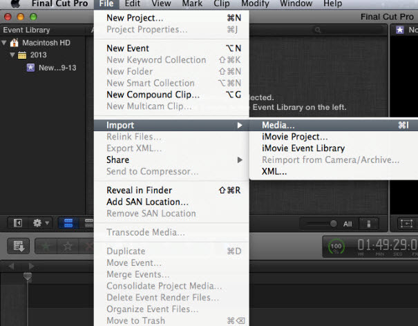 Import video files to FCP X