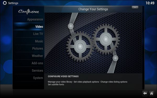 Kodi video option