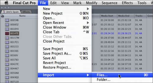 Import video to FCP 7