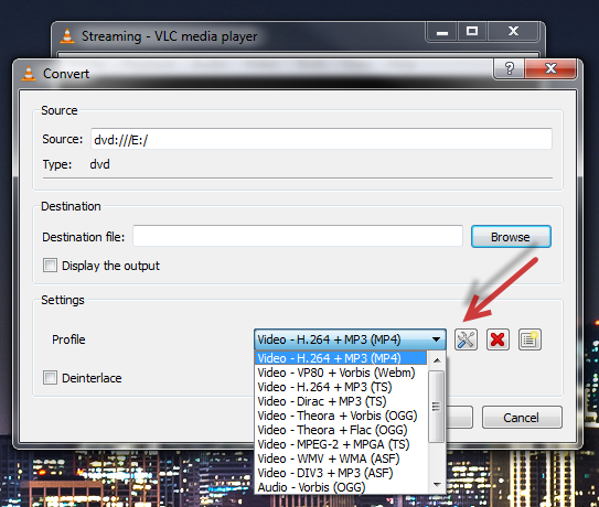 backup DVD to MP4 with VLC