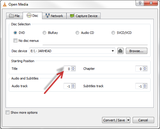 load DVD contents with VLC