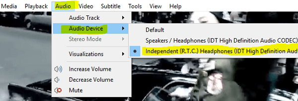 change VLC sound device