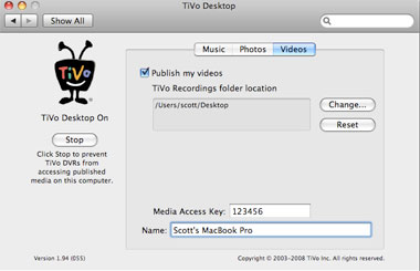 transfer videos from tivo to mac
